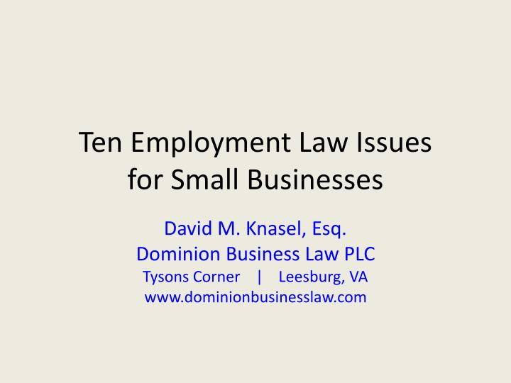ten employment law issues for small businesses n.