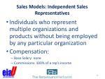 sales models independent sales representatives