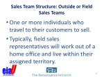 sales team structure outside or field sales teams
