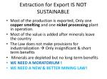 extraction for export is not sustainable