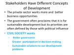stakeholders have different concepts of development