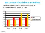 we cannot afford these incentives