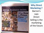 why direct marketing barron s says direct selling is the marketing of the future