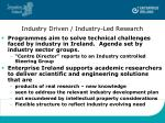 industry driven industry led research