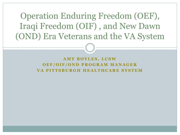 operation enduring freedom oef iraqi freedom oif and new dawn ond era veterans and the va system n.