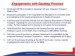 engagements with gauteng province