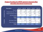 project funding for mtef period beyond rm excluding operational costs income