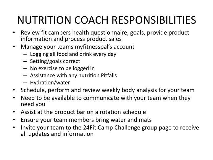 Nutrition coach responsibilities