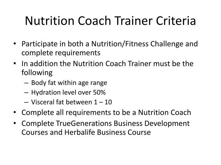 Nutrition Coach Trainer Criteria