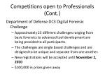 competitions open to professionals cont