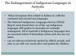 the endangerment of indigenous languages in australia