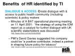 benefits of hr identified by ti
