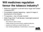 will medicines regulation favour the tobacco industry