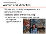 entrepreneurship women and minorities