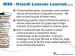 bhn overall lessons learned cont
