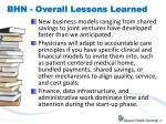 bhn overall lessons learned
