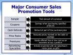 major consumer sales promotion tools