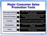 major consumer sales promotion tools1