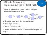 simple example of determining the critical path