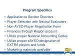 program specifics
