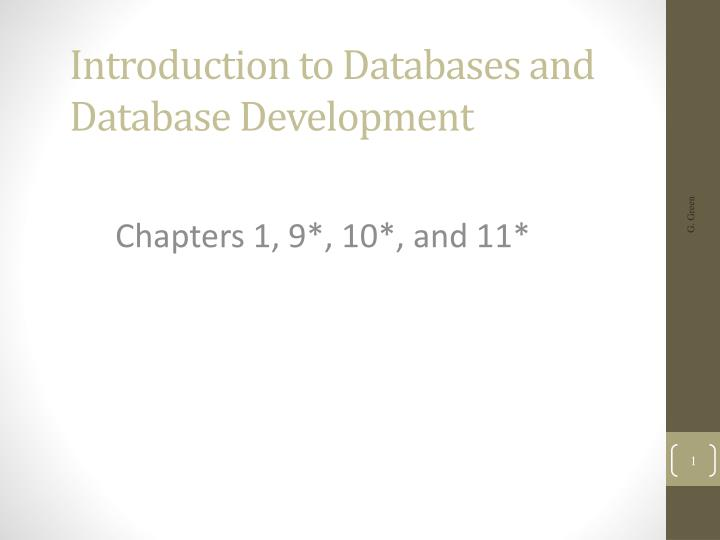 introduction to databases and database development n.