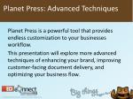 planet press advanced techniques1