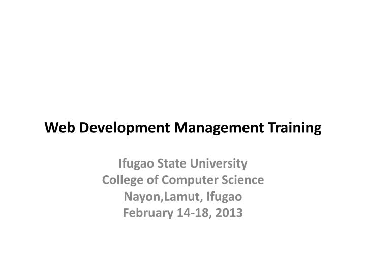 web development management training n.