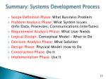 summary systems development process