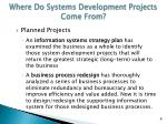 where do systems development projects come from1
