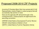proposed 2008 2010 zif projects