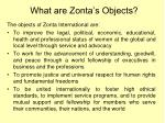 what are zonta s objects