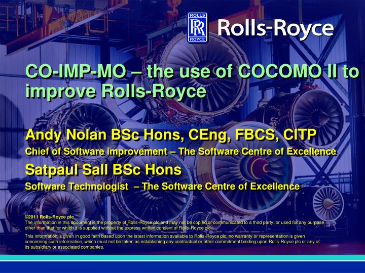 co imp mo the use of cocomo ii to improve rolls royce n.