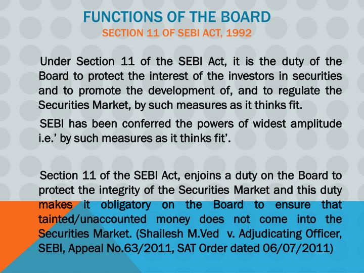 functions of sebi Security exchang board of india (sebi) was established as the regulator for stock and security market in india under securities.