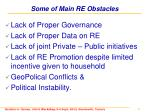 some of main re obstacles