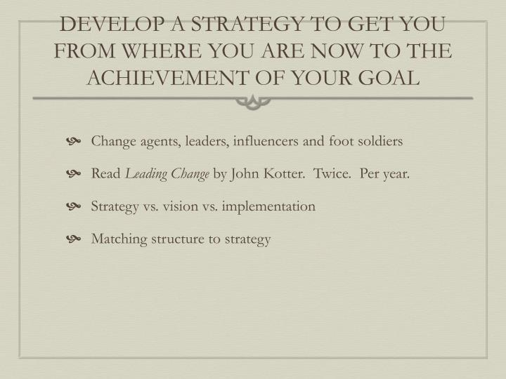 DEVELOP A STRATEGY TO GET YOU FROM WHERE YOU ARE NOW TO THE ACHIEVEMENT OF YOUR GOAL