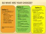 so what are your choices1