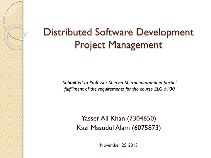distributed software development project management n.