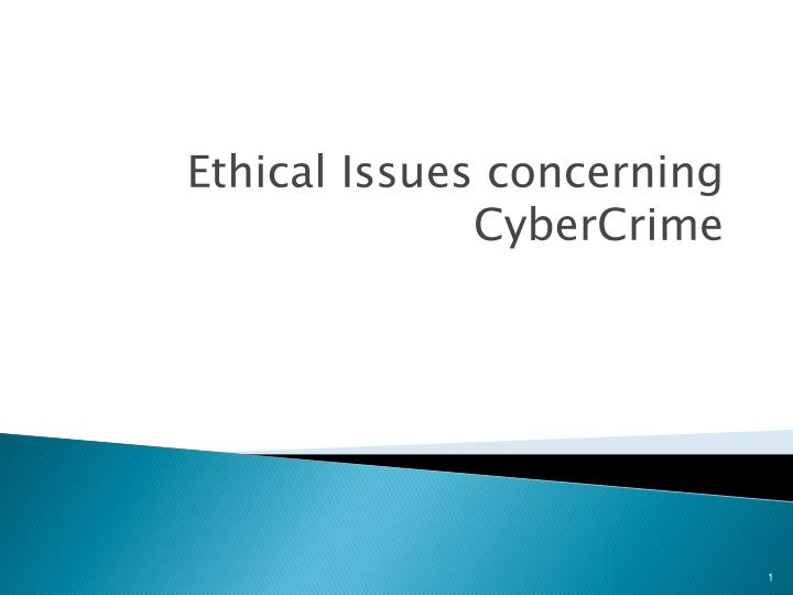 ethical issues concerning cybercrime n.