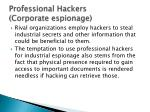 professional hackers corporate espionage