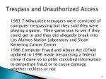 trespass and unauthorized access