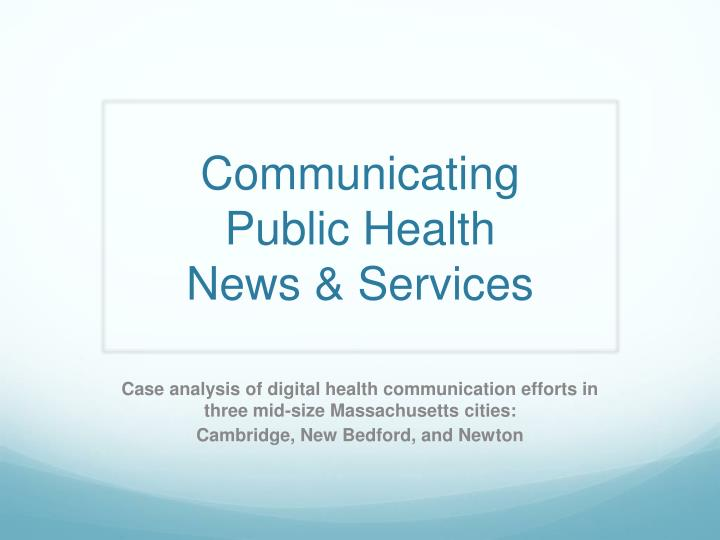 communicating public health news services n.