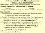 synthesis and refinement of classical economics nassau senior john stuart mill1