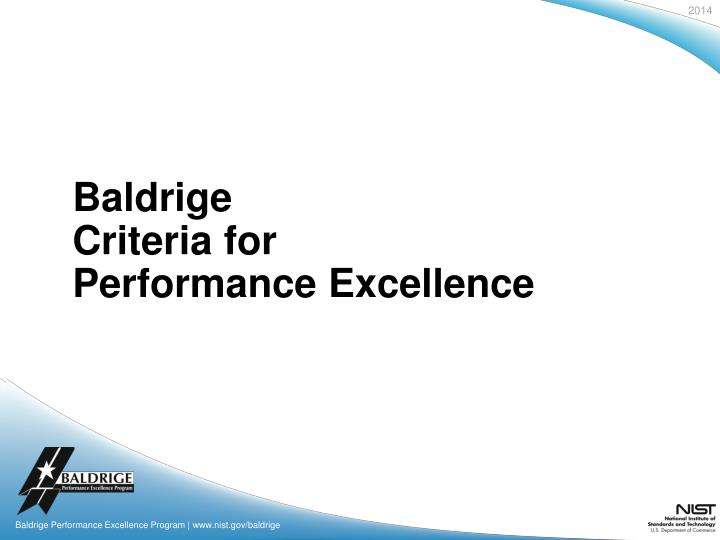 baldrige criteria for performance excellence n.