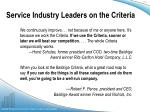 service industry leaders on the criteria