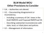 blm model mou other provisions to consider