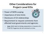 other considerations for project level eiss