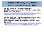 related blm policy guidance instruction memoranda ims