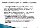 more basic principles of cost management