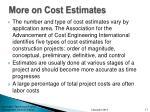 more on cost estimates