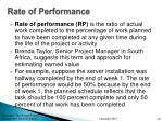 rate of performance